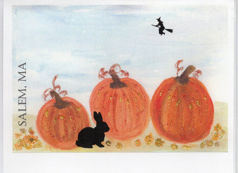 Rabbit Among Pumpkins Watercolor Glitter Card