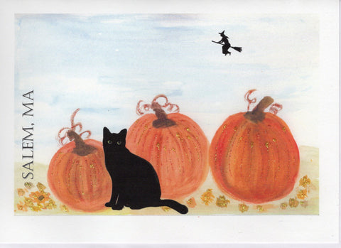 Cat Among Pumpkins Watercolor Glitter Card