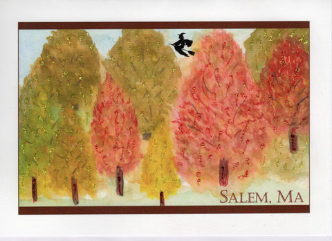 Witch Over Fall Trees Watercolor Glitter Card