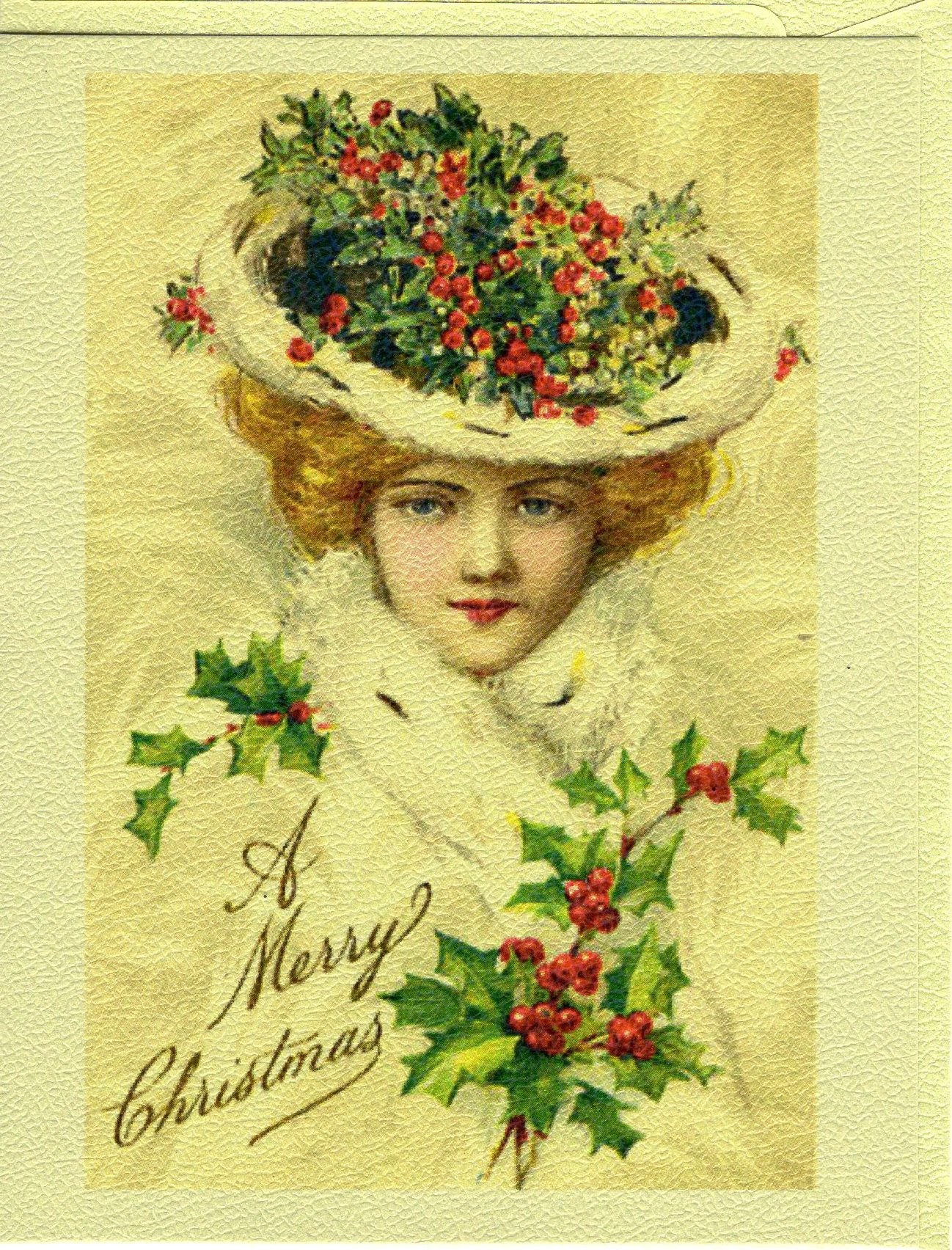 A Merry Christmas...Victorian Holly Lady Christmas Card – The Marble ...