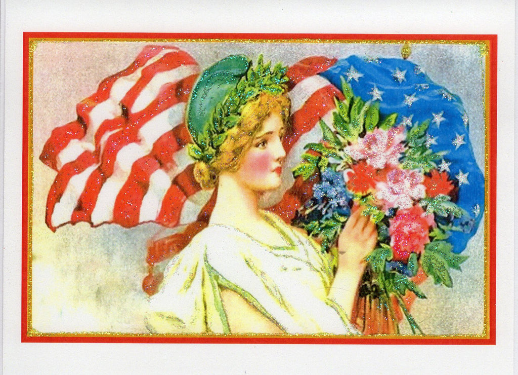 Lady ~ Fourth of July Glitter Card