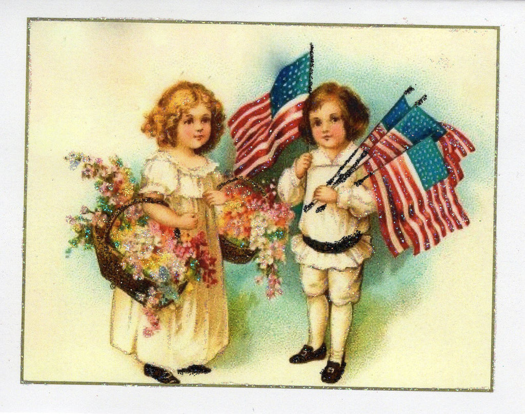 Children, Ol' Glory, & Flowers ~ Fourth of July Glitter Card