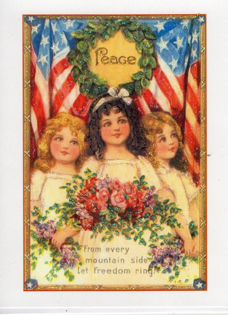Peace ~ Let Freedom Ring! Fourth of July Glitter Card