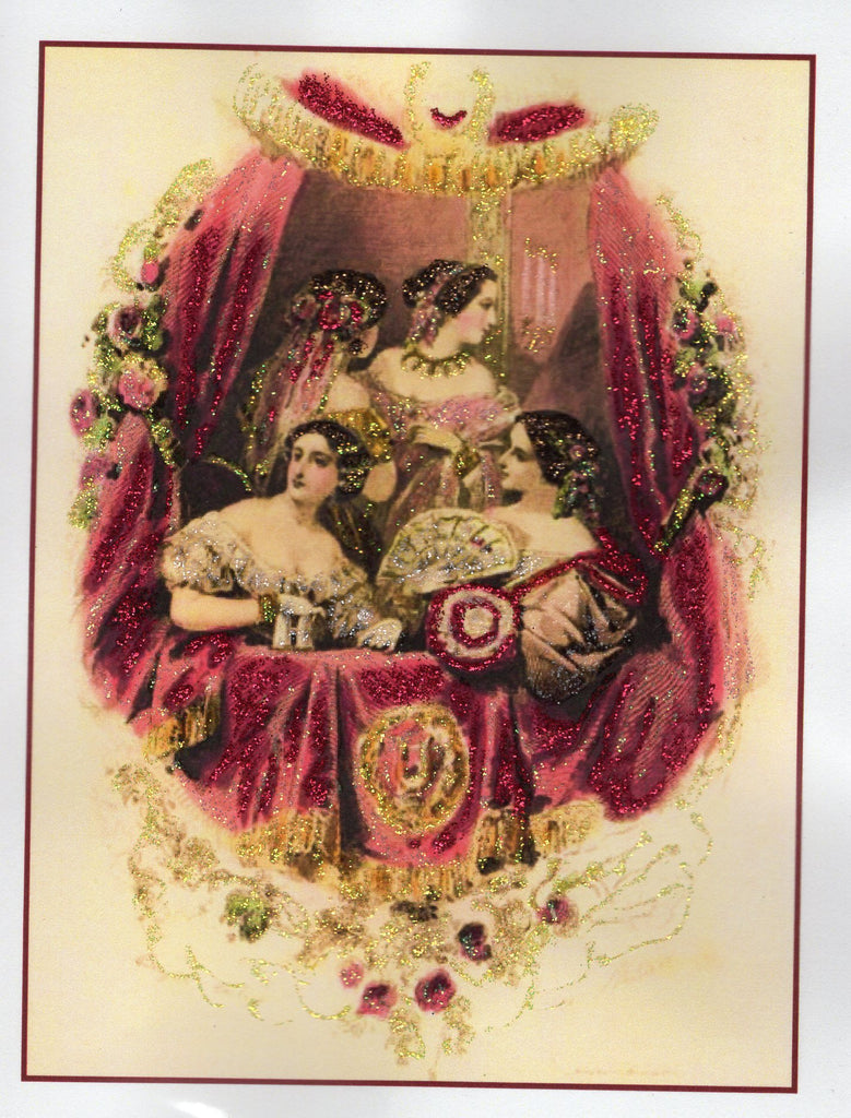 At the Theatre ~ 1860s Fashion Glitter Card