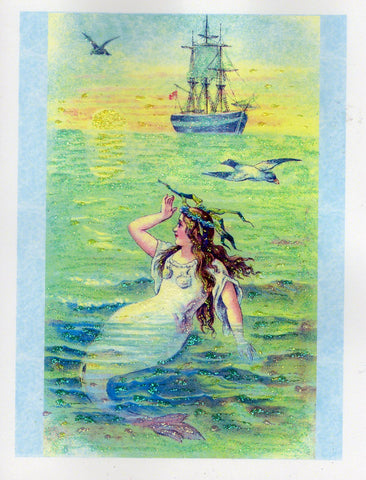 Mermaid at Dawn Glitter Card