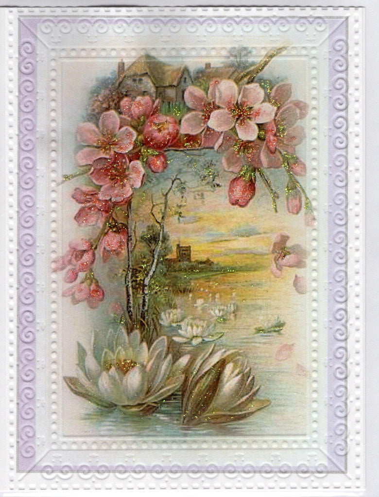 Pond Lily Pastoral Scene Embossed Glitter Card
