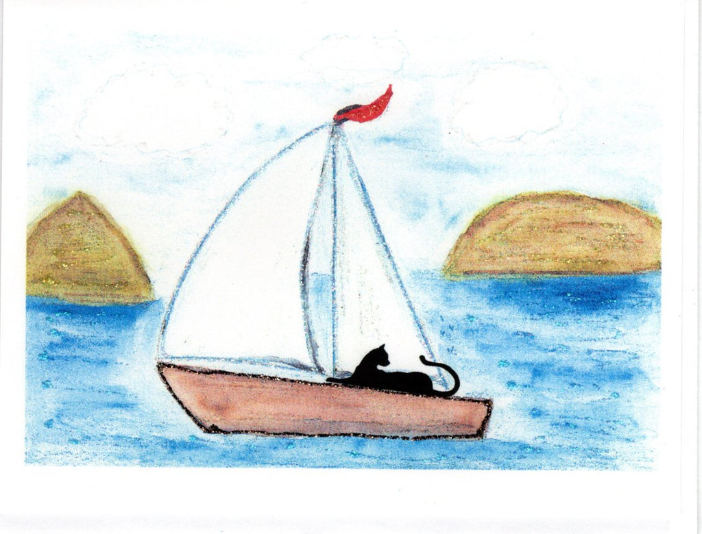 Sailing Cat Watercolor Glitter Card