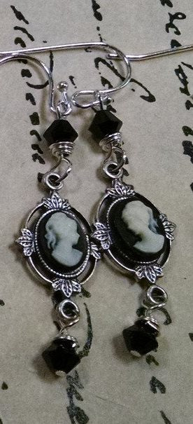 Antique Silver Cameo Earrings