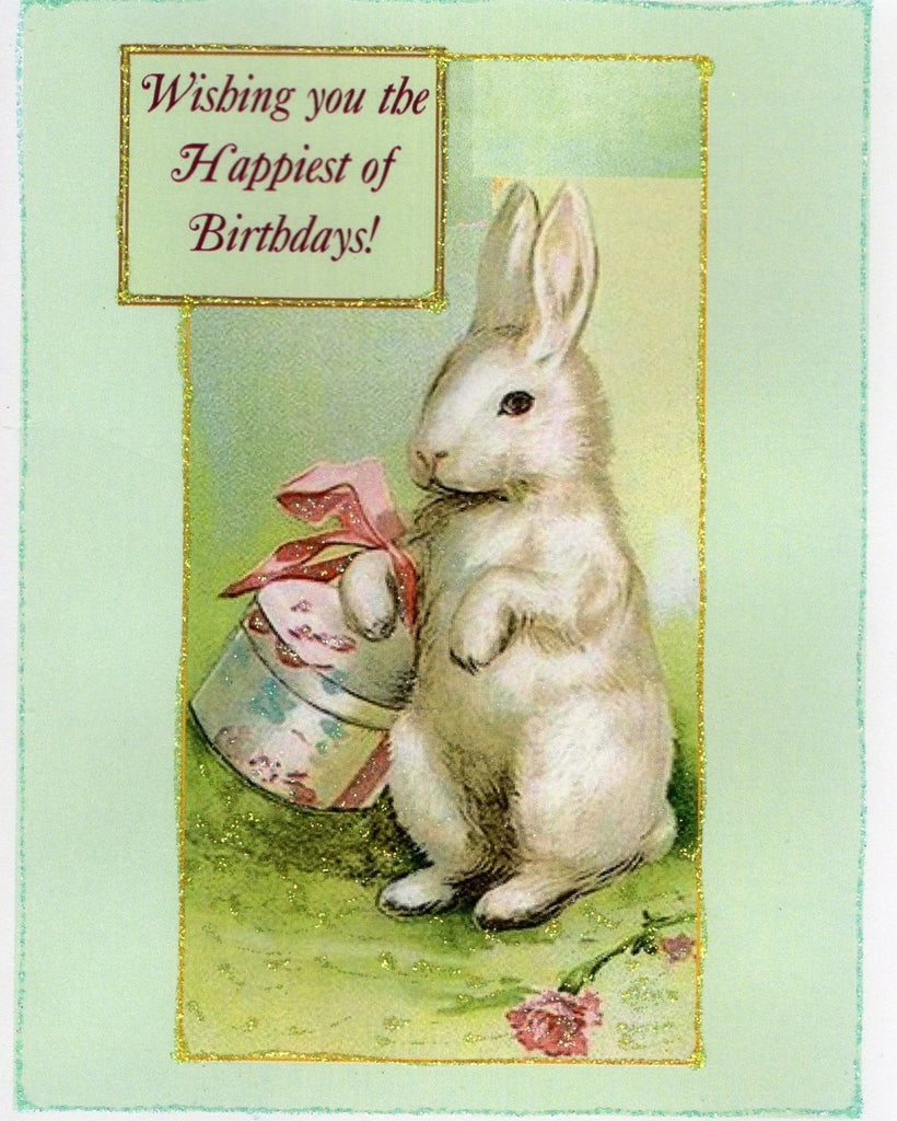 Wishing you the Happiest of Birthdays Bunny Glitter Card
