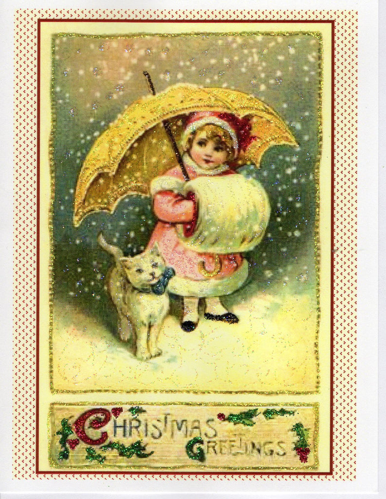 Christmas Greetings...Lovely in Pink with Cat & Muff Glitter Card