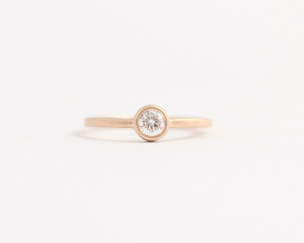 Ethical Bezel Set Diamond Ring Rose Gold, [product_type} - Ash Hilton Jewellery