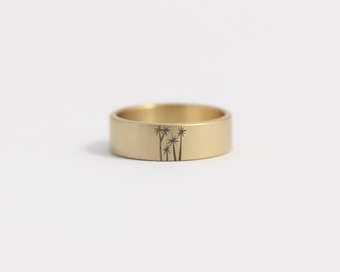 Cabbage Tree Ring in Yellow Gold - Medium, [product_type} - Ash Hilton Jewellery