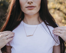 Woodland Bar Necklace with Diamond in Rose Gold, [product_type} - Ash Hilton Jewellery