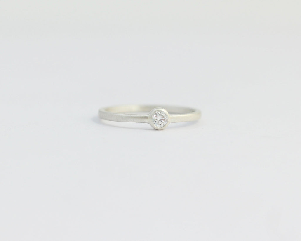 Solitaire Diamond Engagement Ring with Bezel Set Ethical Diamond