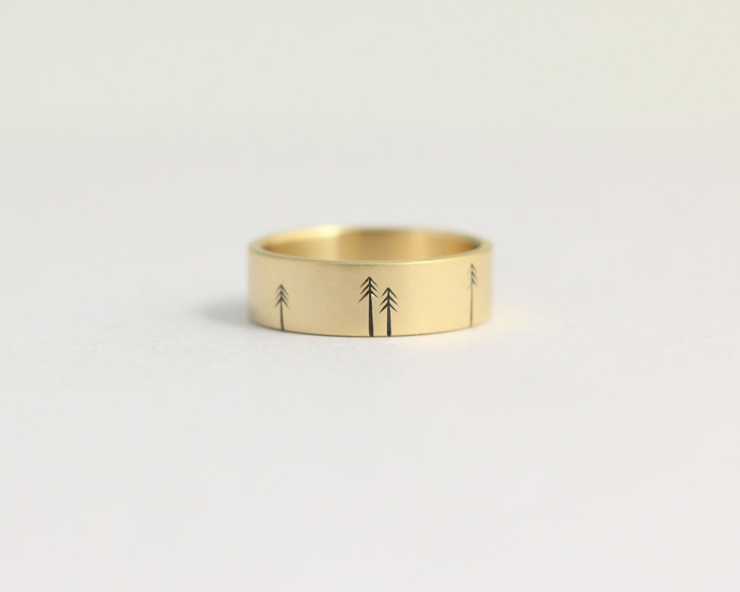 Pine Forest Ring in Yellow Gold - Medium, [product_type} - Ash Hilton Jewellery