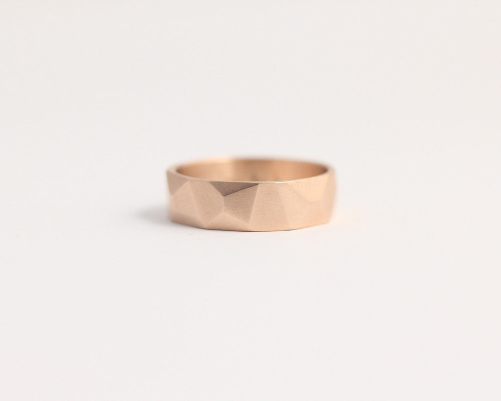 Asymmetrical Facets Ring in Rose Gold - Medium