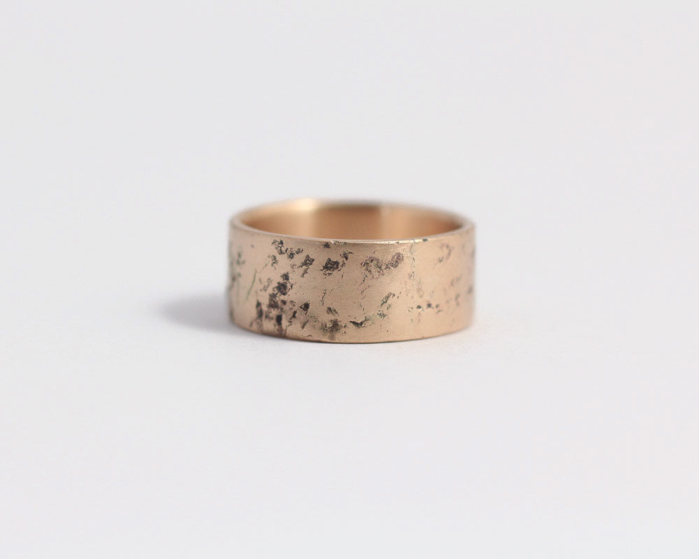Distressed Band in Rose Gold - Wide