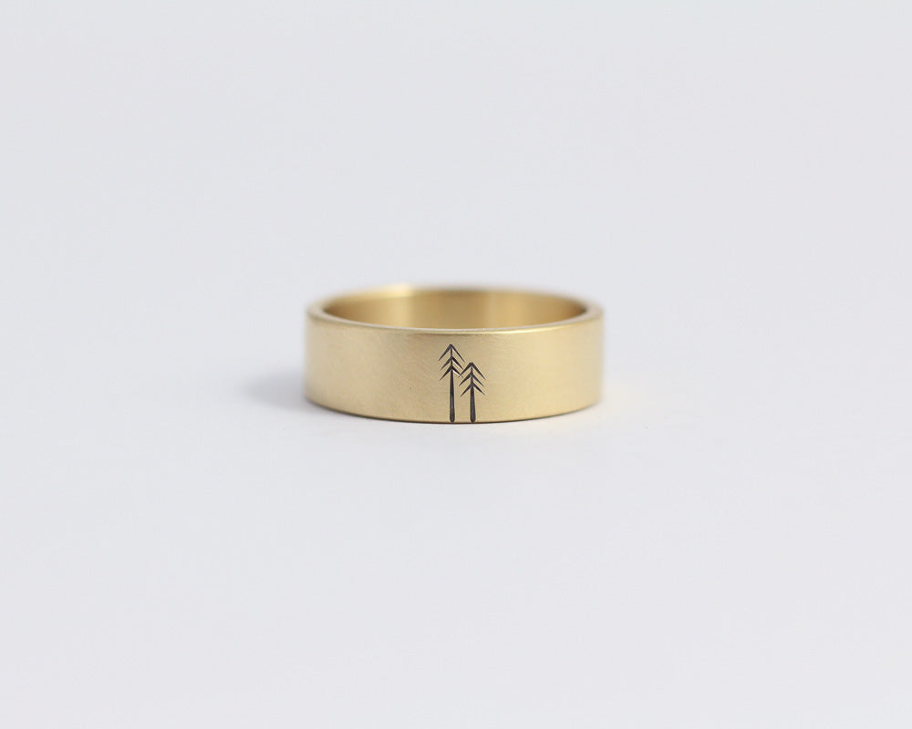 Woodland Ring in Yellow Gold - Wide, [product_type} - Ash Hilton Jewellery