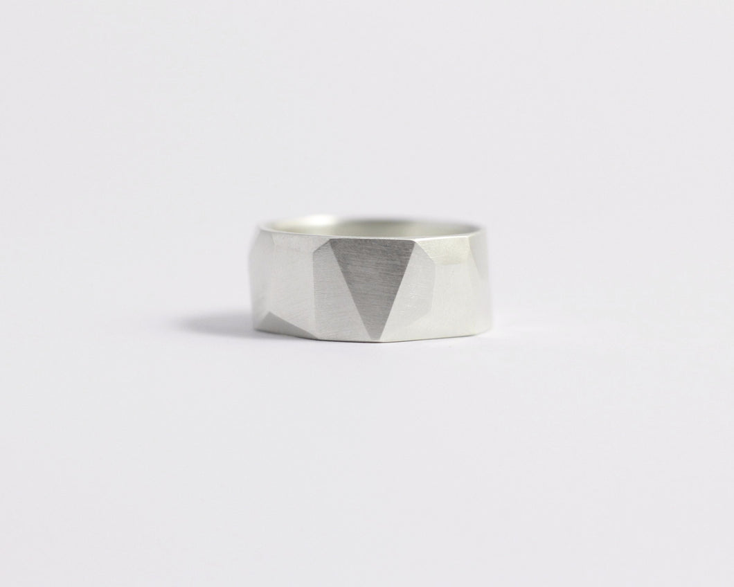 Asymmetrical Facets Ring - Wide, [product_type} - Ash Hilton Jewellery