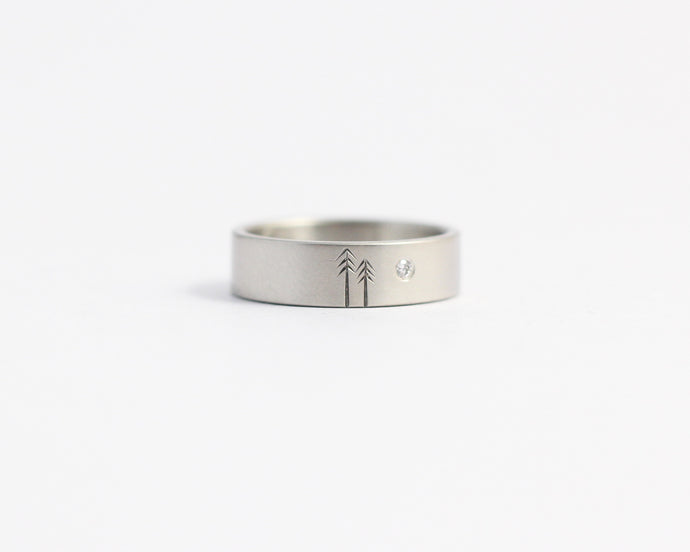 Woodland Ring with Single Diamond - Wide, [product_type} - Ash Hilton Jewellery