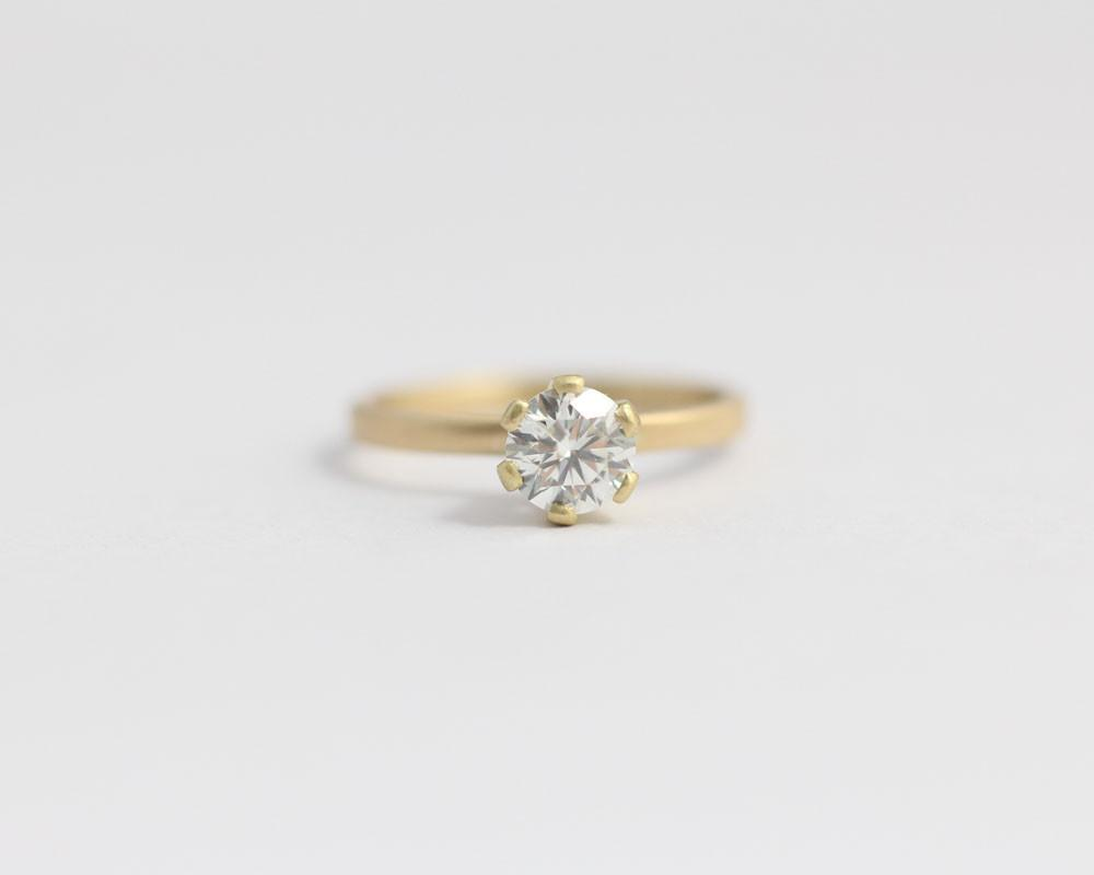 18ct Yellow gold Engagement Ring with 6 Claw Set Ethical Diamond, [product_type} - Ash Hilton Jewellery