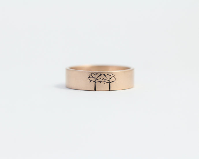 Birds in Trees in Rose Gold - Medium, [product_type} - Ash Hilton Jewellery