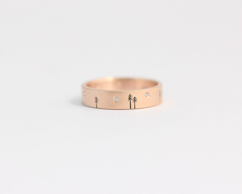Pine Forest Ring with Diamond Stars in Rose Gold - Medium, [product_type} - Ash Hilton Jewellery