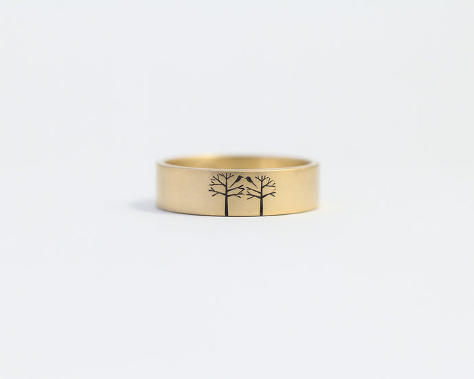 Birds in Trees in Yellow Gold - Medium, [product_type} - Ash Hilton Jewellery