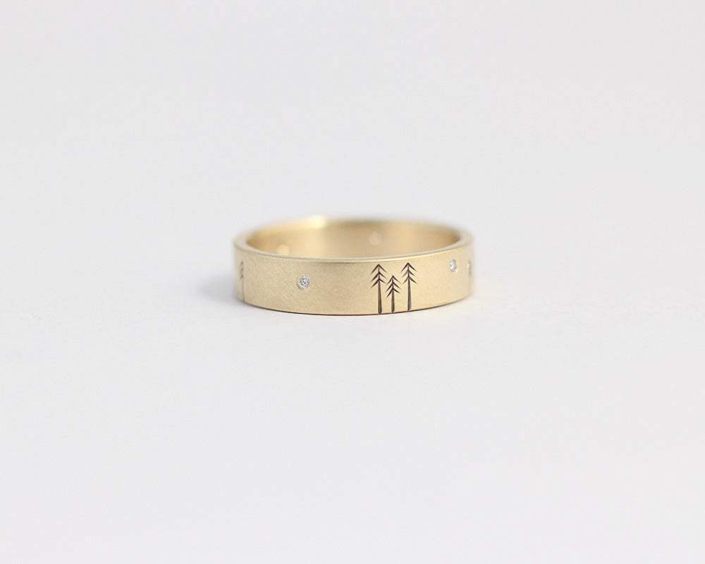 Pine Forest Ring with Diamond Stars in Yellow Gold - Medium, [product_type} - Ash Hilton Jewellery