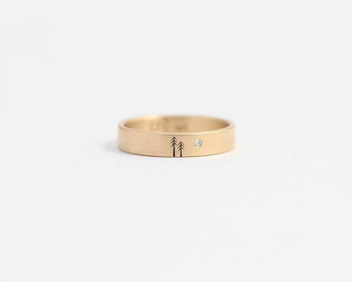 Woodland Ring with Single Diamond in Yellow Gold - Medium, [product_type} - Ash Hilton Jewellery