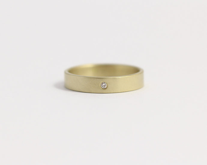 Ethical Yellow Beach Gold & Recycled Diamond Ring - Narrow, [product_type} - Ash Hilton Jewellery