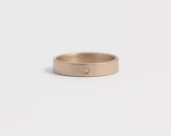 Ethical Rose Beach Gold & Recycled Diamond Ring - Narrow, [product_type} - Ash Hilton Jewellery