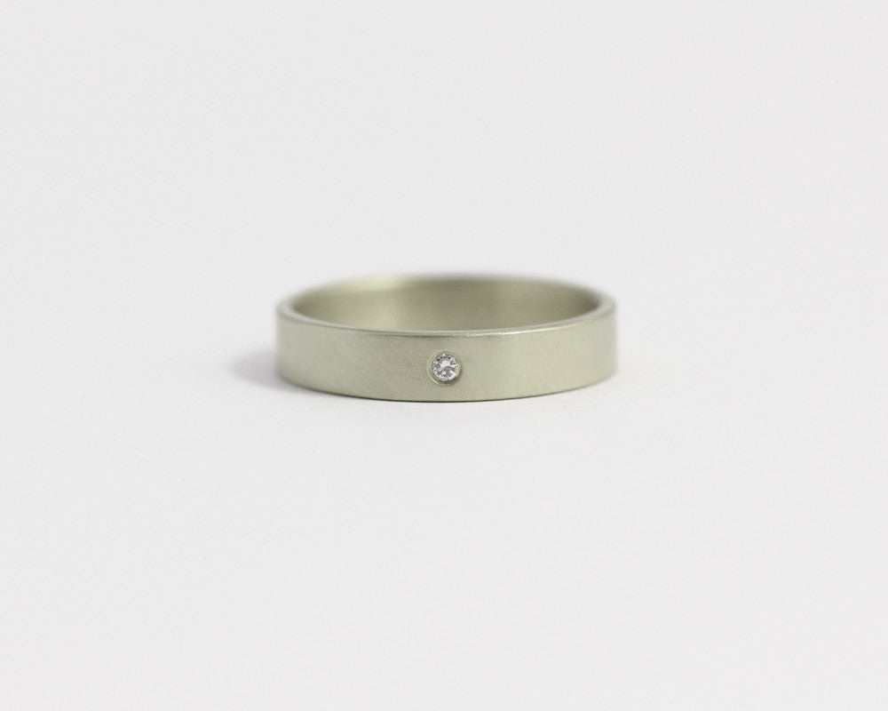 Ethical White Gold & Recycled Diamond Ring - Narrow