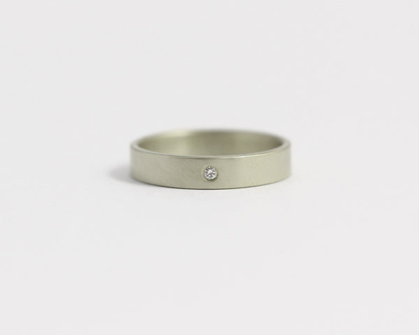 Ethical White gold/Recycled Diamond Ring - 3mm