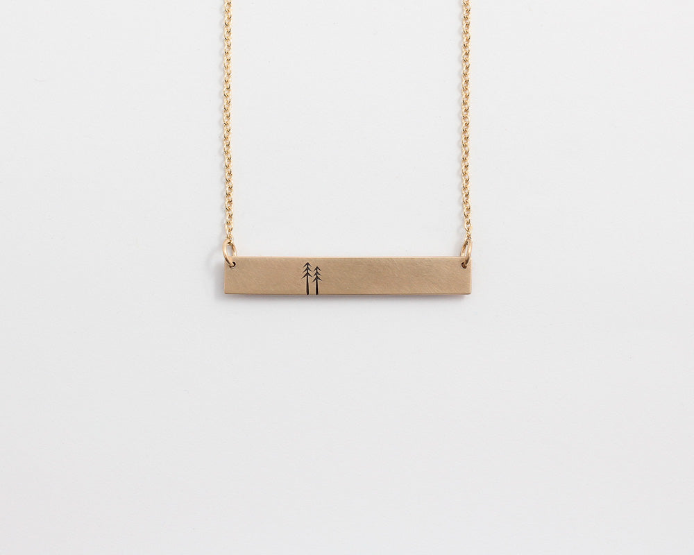 Woodland Bar Necklace in Rose Gold, [product_type} - Ash Hilton Jewellery