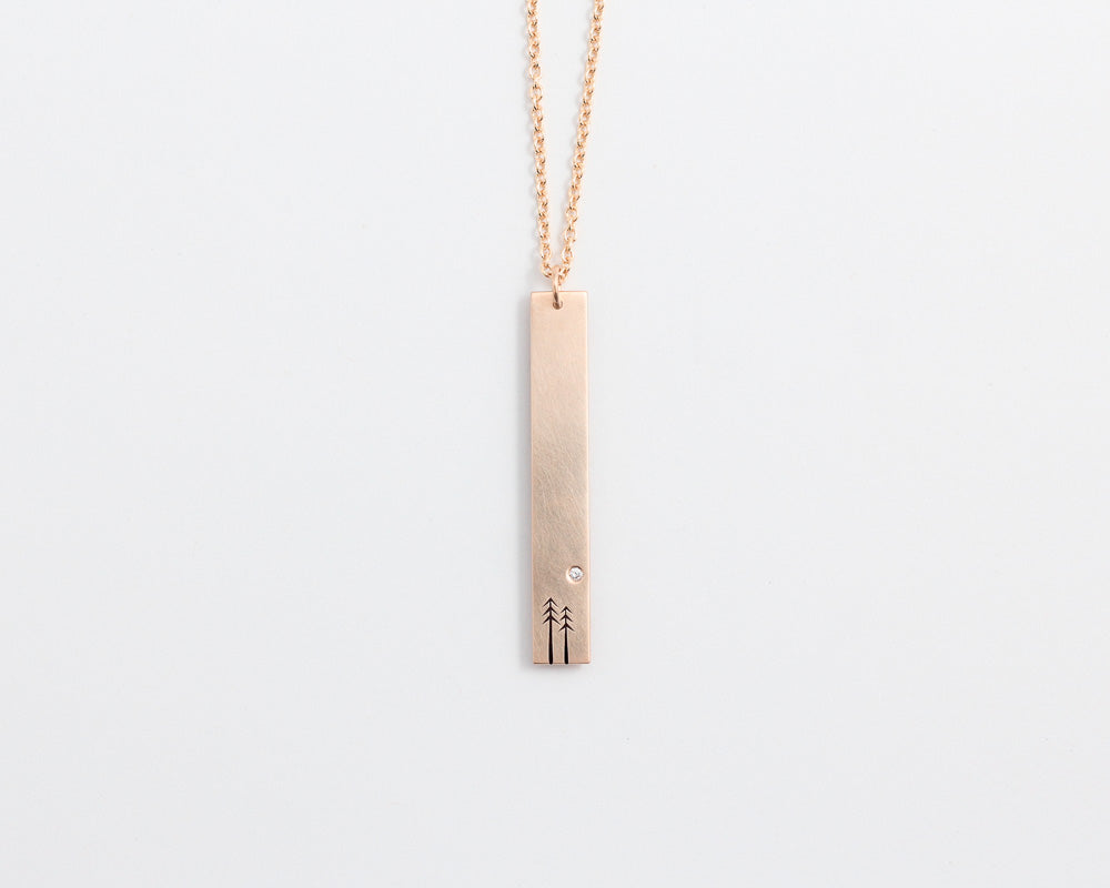 Woodland & Diamond Drop Necklace in Rose Gold