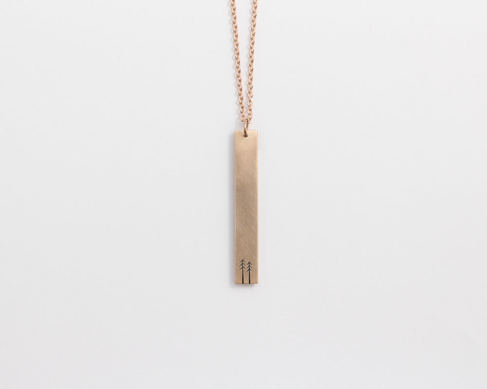 Woodland Drop Necklace in Rose Gold, [product_type} - Ash Hilton Jewellery