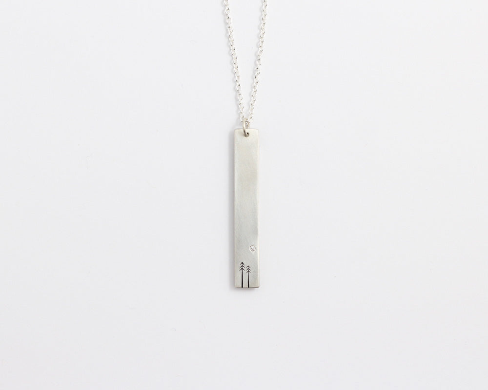 Woodland & Diamond Drop Necklace, [product_type} - Ash Hilton Jewellery