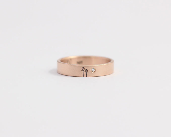 Woodland Ring with Single Diamond in Rose Gold - Medium, [product_type} - Ash Hilton Jewellery