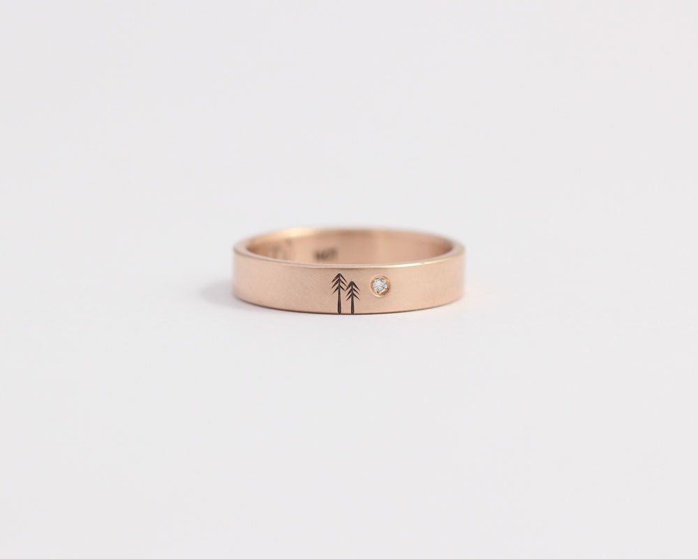 Pine Tree Ring with Single Diamond in Rose Gold - Medium, [product_type} - Ash Hilton Jewellery