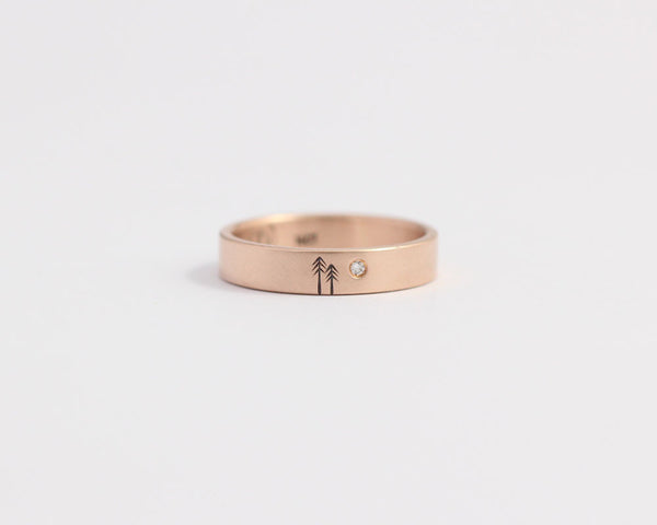 Woodland Wedding Ring with Single Diamond and Two Trees