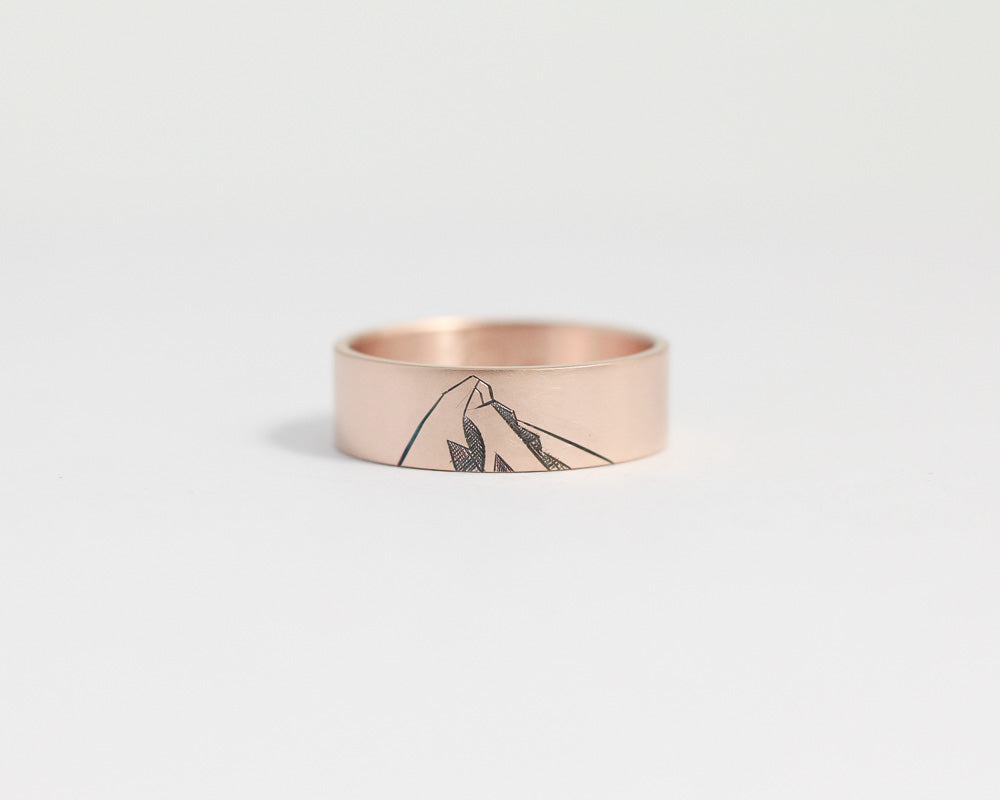 Mountain Ring in Rose Gold - Wide, [product_type} - Ash Hilton Jewellery