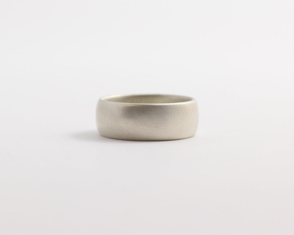 Rounded Ethical White Beach Gold Band - Wide, [product_type} - Ash Hilton Jewellery