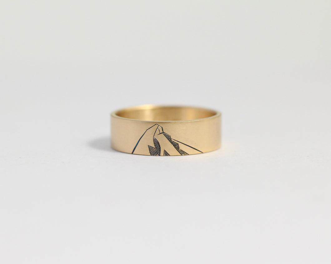 Mountain Ring in Yellow Gold - Wide, [product_type} - Ash Hilton Jewellery