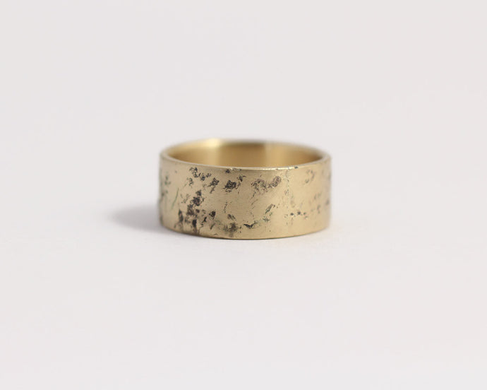 Distressed Band in Yellow Gold - Wide, [product_type} - Ash Hilton Jewellery
