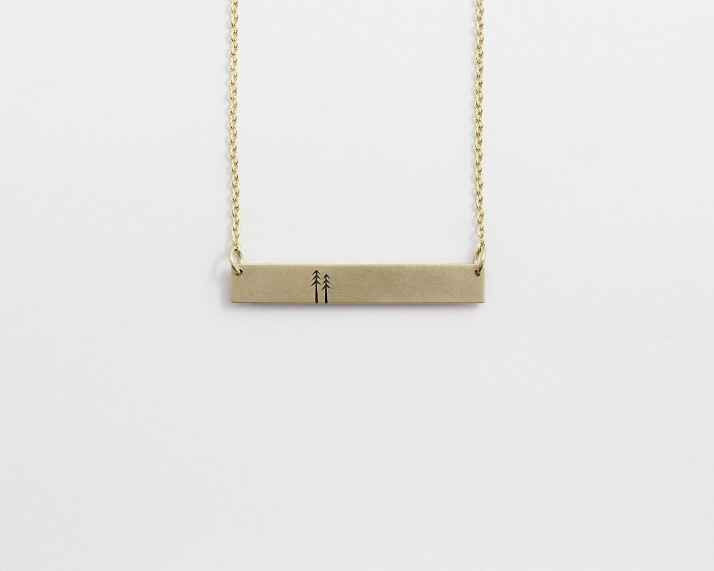 Woodland Bar Necklace in Yellow Gold, [product_type} - Ash Hilton Jewellery