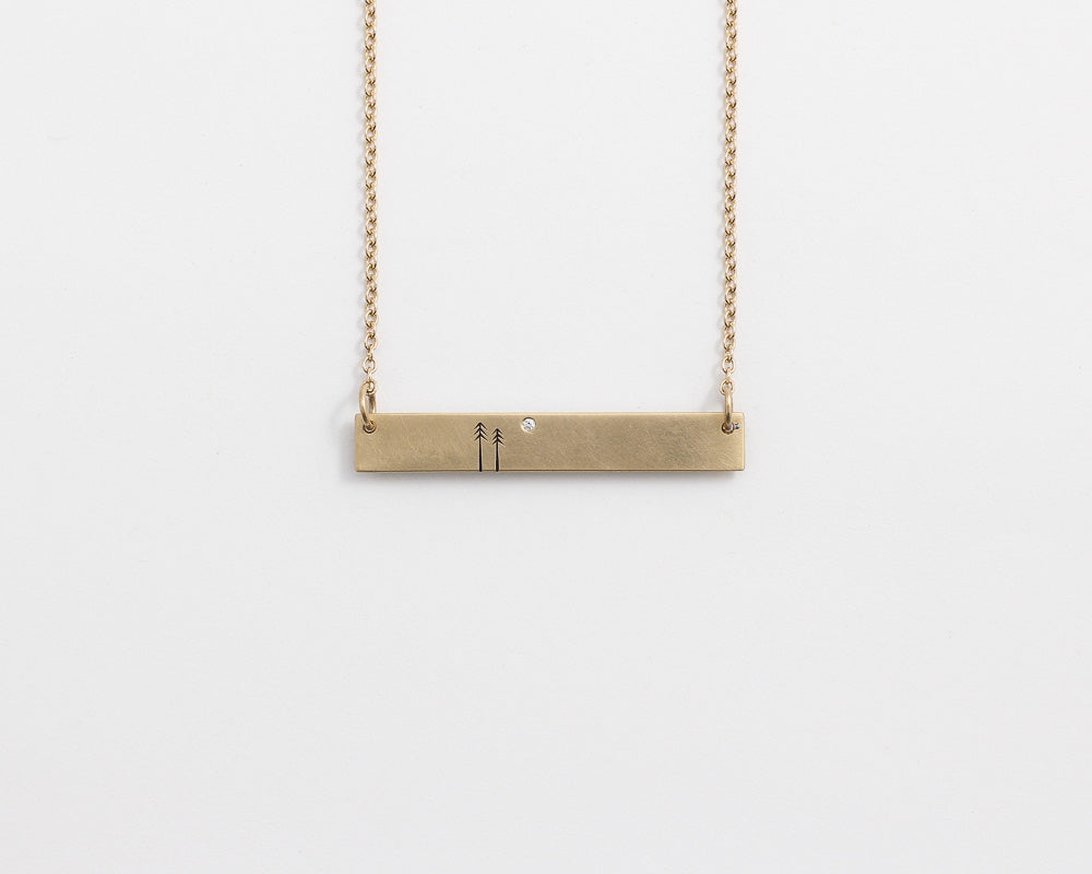 Woodland Bar Necklace with Diamond in Yellow Gold, [product_type} - Ash Hilton Jewellery