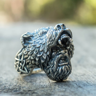 Viking Bear Head Warrior Ring