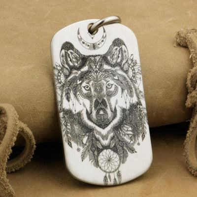 Engraved Indian Wolf Pendant - TheNineOneOne