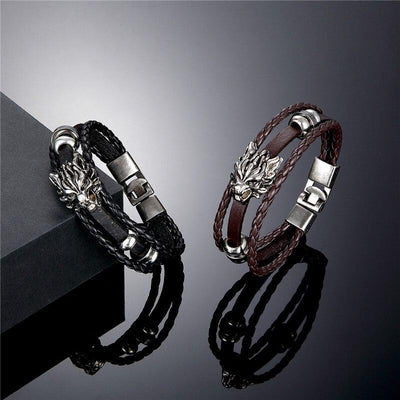 Leather Wolf Braclet - TheNineOneOne